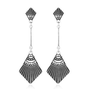Silver Drop Earrings for Women Girl Vintage National Style Hollow Dangle and Chandelier Earrings Fashion Jewelry Wholesale - 0845WH