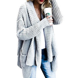 BYUAN Lange Pullover Damen Solide Gestrickte Pullover Frauen Mantel 2018 Herbst Winter Herbst Pullover für Frauen Strickjacke Mujer