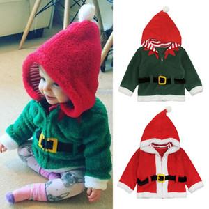 Kinder Weihnachten Hoodies 2018 Herbst Winter Weihnachtsmann Plus Samt Mäntel Baby Jungen Mädchen Weihnachten Outwear Jacken 2 Farben Kleidung C5130