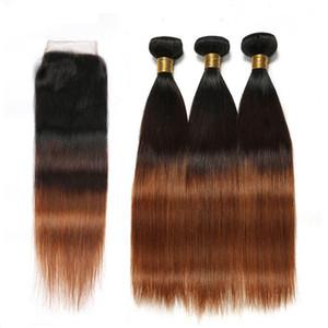 Прямые # 1B/4/30 средних каштановых Ombre бразильские девственные волосы 3bundles с закрытием шнурка 4x4 человеческие волосы Ombre 3tone соткут с верхним закрытием