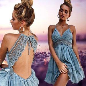 Bayan Elbiseler Yeni Varış 2018 Yaz Dantel Seksi Kulübü Spagetti Askı Backless Parti Elbise Zarif Bohemian Plaj Sundress