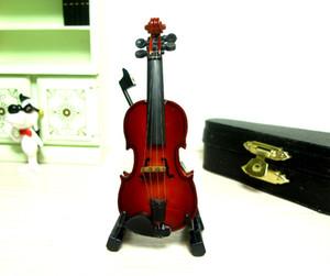 1/12 ölçekli Akustik Enstrümanla Dollhouse Minyatür Mobilya Mini Viyolonsel Keman Müzik Rakam Yay ile oynamak oyuncak CaseHolder