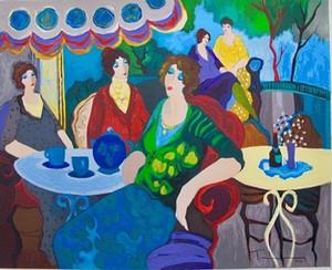 Ицхак Таркай утренний чай Леди кафе портреты искусства, ручная роспись / HD печать стены искусства маслом на холсте.Мулти Изготовленные На Заказ Размеры / Рамка Ит83
