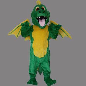 2019 Hot new tamanho Adulto Dianossauro mascote personalizado Verde Voar Dragão fantasia vestido de Festa de Aniversário Traje Traje Mascote