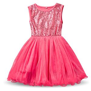Yaz Kız Sequins Robe Fille Enfant Çocuklar Doğum Günü Kıyafetleri Tül Çocuk Toddler Kız Giysileri Bebek Çocuklar Okul Elbise Vestidos