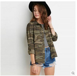 New Camouflage Jacket Donna Cappotti Spring Street Fashion Army Green Outwear militare Allentato Casaco Feminino Casual