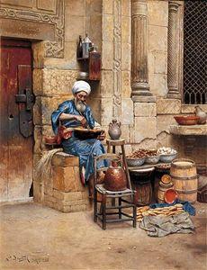 Stampa HD dipinta a mano Ludwig Deutsch - The Street Merchant sambuco ritratto arabo Arte pittura a olio Home Decor Canvas Multi dimensioni P58