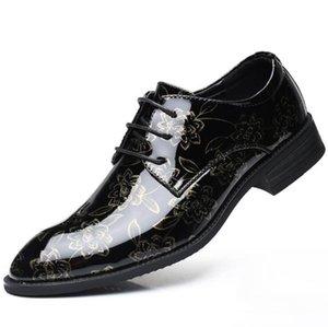 Fleurs d'impression de luxe en argent loisirs chaussures en cuir de mode chaussures Derby hommes or occasionnels chaussures formelles de mariage