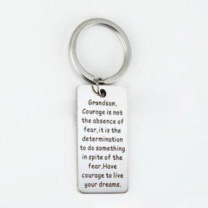 Tag de prata de aço inoxidável Inspirational Key Chain Ring Pendant Melhores presentes da graduação do neto - a coragem do neto não é a ausência do medo