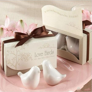 Free shipping Love Birds Salt and Pepper Ceramic Shakers hot sell Wedding Favors party gift for guest