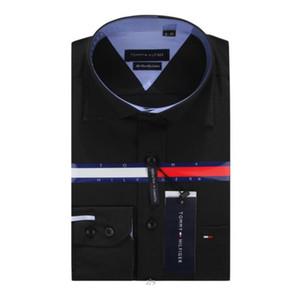Vente en gros-nouvelle haute qualité mens chemises designer marque Business Business Casual robe chemise avec boutons de manchette français Livraison gratuite # 5818