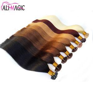 Плоский наконечник наращивание волос Цвет #60 светло-русый 1 г / прядь 100 г 100% Реми предварительно скрепленные человеческие волосы плоский наконечник расширения