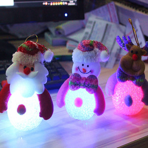2020 lumière de Noël avec le Père Noël conduit bonhomme de neige cerf ours nuit riz lumière bonhomme de neige de cristal cadeaux de Noël lumières pendentif arbre