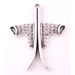 Haute qualité argent chaussures de ski et ski conseil charme pendentif clouté avec des bijoux en cristal clair de la mode
