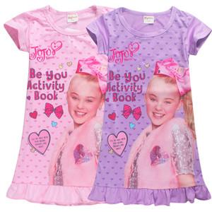 2018 nouvelles filles Pyjama Robe JOJO Headbow Robes Filles manches courtes Accueil Vêtements pour les filles Pyjama Dress for aimes 4-12T