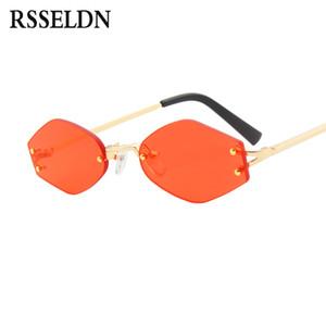 RSSELDN мода маленькие солнцезащитные очки Женщины 2018 Новый полигональные солнцезащитные очки мужчины старинные красный желтый черный линзы очки без оправы UV400