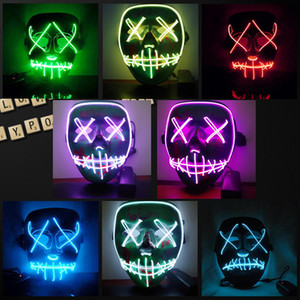 Máscara de Halloween LED Light Up Party Máscaras The Purge Election Year Gran divertidas máscaras Festival Cosplay Suministros de traje brillan en la oscuridad