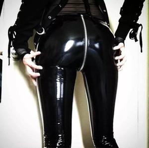 Женские кожаные брюки искусственная кожа клуб молния дизайнер одежды брюки сексуальные черные красные брюки