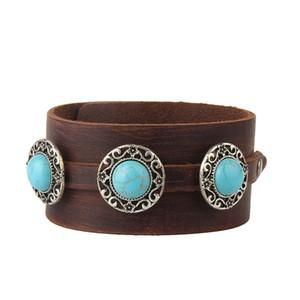 Braccialetti di cuoio larghi del polsino del retro - Braccialetti dei braccialetti dei braccialetti del progettista dei braccialetti di fascino di turchese Trasporto libero delle donne