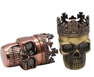 Skull Grinder King Crown Metallo Tabacco Fumo Herbal Herb Grinder In Lega di Zinco 75mm * 47mm 3 Strati 30 PZ / LOT