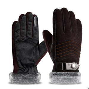 Gloves men winter cycling pig skin gloves warm motorcycle thickened and fleece students winter cycling cotton gloves