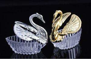romántica baratos 300pcs los estilos europeos de acrílico de plata del cisne del regalo de boda dulce de Jewely caja del caramelo cajas de regalo boda favorece a los titulares