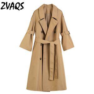 ZAVQS coupe-vent femme printemps corne manches longues slim trench-coat manches trois-quarts manteau double boutonnage kaki pardessus jf247