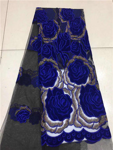 Tela del cordón de la tela africana del terciopelo de la alta calidad 2018 tela azul francesa del cordón del bordado de Tulle para la fiesta nigeriana Dres