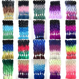 Extensiones de cabello trenzado Ombre Kanekalon Tres tonos de colores Trenzas Pelo Fibra de alta temperatura Crochet Twist Pelo sintético 24 pulgadas 100 g