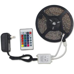 DHL SMD 3528 5M 300LED RGB LED 스트립 라이트 방수 야외 조명 여러 가지 빛깔의 테이프 리본 24KEYS DC12V 어댑터 세트