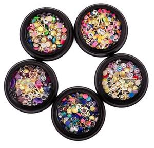 Misto colorato per unghie Micro perline colorate e pietre preziose Circle 3D Nail Art Glitter Crystal AB Non Hotfix Diamond Strass
