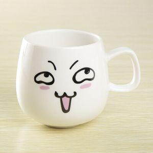Çevre dostu Sevimli İfade Seramik Kupalar Su Konteyner Bardak Ve Kupalar Porselen Çay Bardağı Kahve Kupa 300 ml