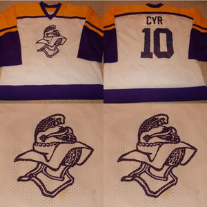 TG-cruzados cavaleiros Jogo WornUsed High School de Minnesota Hockey Jersey 100% bordado costurado Logos Hockey Jerseys