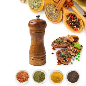 "Salt and Pepper Mill Home Kitchen Solid Wood Pepper Mill Strong Adjustable Ceramic Spice Grinder Muller Tool 5"" 8"" 10"""