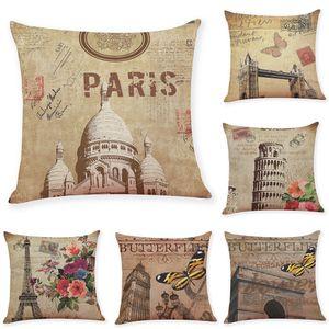 Coprisedili in lino vintage Cuscino Home Office Divano quadrato Federa Copricuscino decorativo senza inserto (18 * 18 pollici)