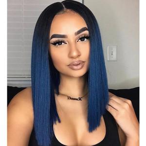 Moda 18 inç Koyu Kök Ombre Mavi Peruk Orta Kısmı Kısa Bob Düz Dantel Ön Peruk Sentetik Yüksek Sıcaklık Afrika Amerikan Kadın Peruk