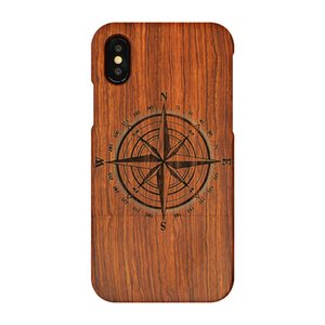 For iphone7plus 8plus &iPhone7 8 &iPhone X case,wooden case Unique Genuine Natural Rose Wood Case Hard Bamboo Shockproof Case(Small compass)