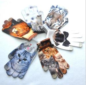 Diseño de la impresión de la historieta 3D guantes tejidos coloridos guantes de cabeza de animales guantes de deportes ciclismo deportivos pantalla táctil guante mágico para adultos
