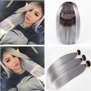 # 1B / Grey Ombre 3Bundles brasileños de cabello humano virgen con 360 Frontal recto Ombre Gris plata 360 Cierre frontal de encaje 22.5x4x2 con tejido