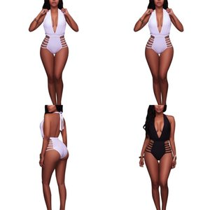 Femme Bikinis Set Lady Swimwears Black White Hollow Out Halter Vendaje Mujer Trajes de Baño Raodaren Beach Wear Sexy Bathing Push Up 25yd V