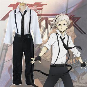 Asiatique Taille Japon Anime Bungo Stray Dogs Atsushi Nakajima Cosplay Costume Uniformes Blanc Chemise Pantalon