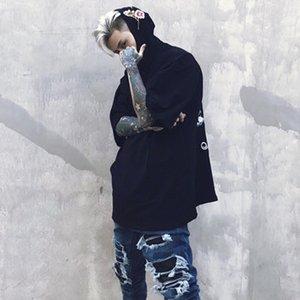 Yeni Yaz Sonbahar Yarım Kollu Hip Hop T Gömlek Pamuk Gevşek Nakış Kapşonlu Turn-down Yaka T-Gömlek Erkekler Yüksek Kalite Abd Boyutu