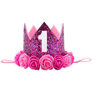 Çocuklar Bebek 1st Doğum Günü Şapka Glitter Taç Çiçek Kafa Saç Bandı Parti Şapkalar