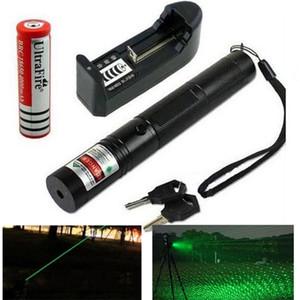 مؤشرات ليزر جديدة 303 ليزر أخضر مؤشر ليزر أحمر القلم 532nm قابل للتعديل التركيز تعليم القلم مع شاحن البطارية