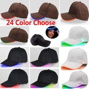 LED 야구 모자 광섬유 발광 힙합 골프 모자 어린이 여성 남성 하키 스냅 백 공 남여 바이저 파티 모자 24 색 캡 HH7-208
