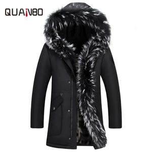 QUANBO 2018 Kış Kalın Sıcak Aşağı Ceket Rahat X-Uzun Kapşonlu Doğal Rakun Ile Beyaz Ördek Aşağı Palto-35 Derece Dış Giyim Y181101