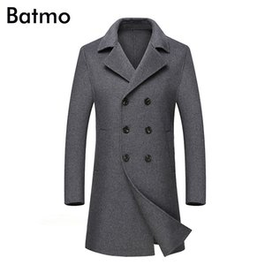 Batmo 2018 new arrival high quality Double Breasted Double side wool casual long trench coat men,men's long parka,plus-size AL06