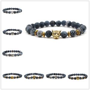 8MM Weathered Pietra Perle Bracciale Oro Antico Argento Gufo Leopard Testa di Leone Charms Gioielli Pulseira Feminina Buddha
