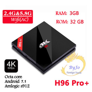 H96 Pro + 3G DDR3 32G Flash 2.4G 5GHz Wifi HD2.0 4K scatola Amlogic S912 Octa Nucleo BT4.0 intelligente contenitore di Android TV Android 7.1