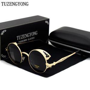 TUZENGYONG modo di alta qualità occhiali da sole polarizzati Donna rotonda Metal / Uomini Carving annata di vetro di Sun gotica Steampunk Sunglass